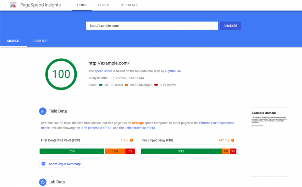 google page speed insights example